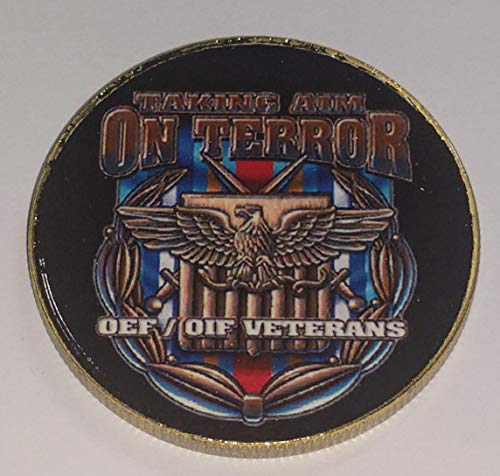Taking Aim on Terror OEF OIF Veterans Military Challenge Art Coin