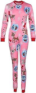 Mono de Mujer Sexy con Estampado Floral de Navidad con Cuello en V de Manga Larga Mono Pijama de Dormir