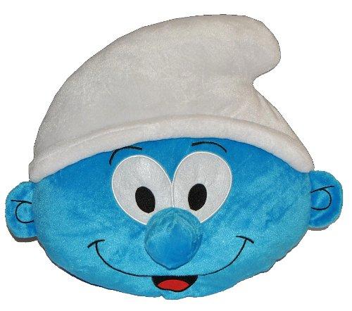 alles-meine.de GmbH Kissen Schlumpf 46 cm * 40 cm Kuschelkissen - die Schlümpfe - blau groß sehr weich Jungen Jungs Schmusekissen Kinderkissen