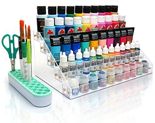 Tinctor Paint Organizer & Paint Brush Holder. Perfect Paint Holder & Paint Brush Organizer for Acrylic Paint Storage, Craft Paint Storage, Paint Rack for 2 oz Bottles, Hobby Paint Storage