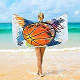 Ahomy Serviette de plage en microfibre grande taille 94 x 188 cm Aquarelle Basketball Serviette de bain Voyage Doux Séchage rapide pour la maison, la plage et la natation