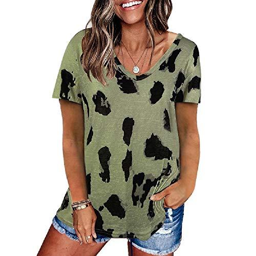 N\P Blusa suelta de manga corta con estampado de leopardo para mujer de primavera y verano