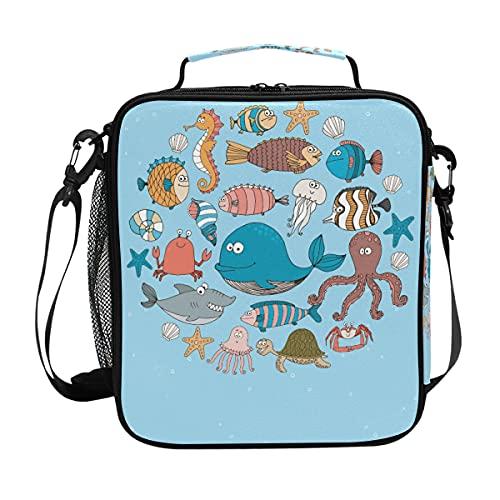 AJINGA Divertido y lindo animal de mar ballena caballito de mar medusas tiburón pulpo almuerzo bolsa aislada grande nevera bolsa con correa para el hombro para niños y niñas y mujeres