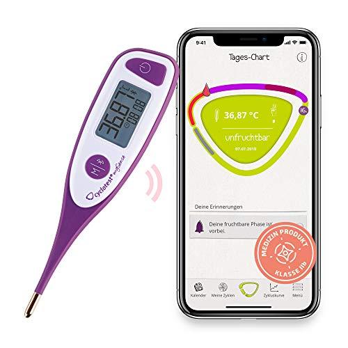 cyclotest mySense - Termómetro basal Bluetooth para control del ciclo, termómetro PFN con aplicación para prevención natural