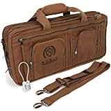 Waxed Canvas Chef Knife Bag Holds 19 Knives PLUS Knife Steel Meat Cleaver and Large Storage...