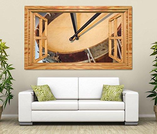 3D Wandtattoo Trommel Musik Schlagzeug Holz Fenster selbstklebend Wandbild Tattoo Wand Aufkleber 11M1627, Wandbild Größe F:ca. 140cmx82cm