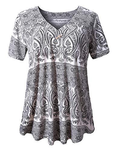 U.Vomade Women's Tops Casual Summer Button Blouses Short Sleeve T Shirts Multi Black White Medium