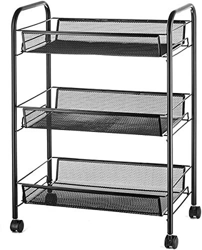 Shelf Mobile Estantería Unidad Organizador Carrito Rolling 3 Tier Torre Estante con Ruedas De Mango Ruedas para Cocina Cuarto De Baño Lugares De Lavandería Lugares Estrechos (Negro, 45 × 27 × 63 Cm)