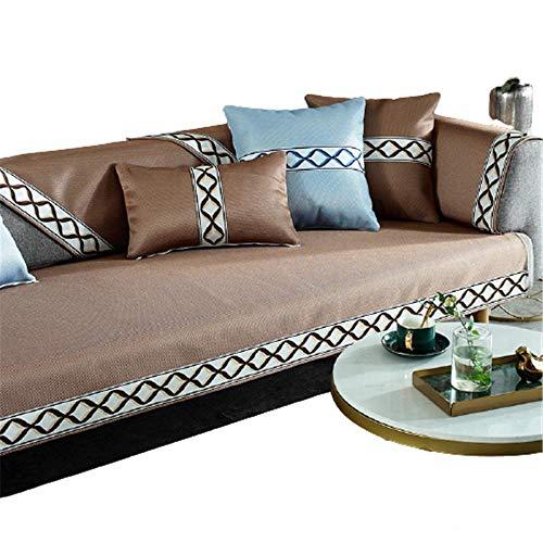 Fundas de sofá deSeda de Hielo de Verano de 5 Colores,Cuero reclinable en Forma de L,Funda para sofá,sofá de Dos plazas,Fundas para sillón,Protector de Muebles,café,80 x 80 cm