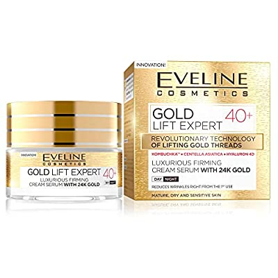 Eveline Cosmetics Gold Lift Expert Luxurious Firming Cream-Serum with 24k Gold 40+ | 50 ML | Anti-wrinkle Moisturizing Face Cream | for Mature, Dry Sensitive Skin | for Day and Night