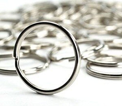 Round Nickel Plated Silver Steel Split Ring Fishing Lure Split Key Chain Ring Connector Keychain Key Ring 50Pcs