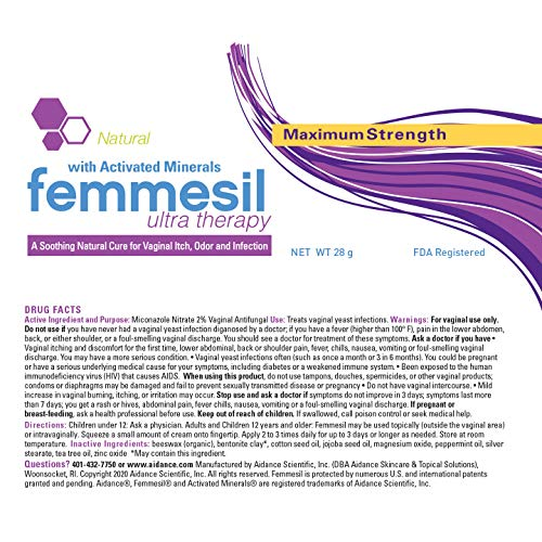 Feminine Care All-Natural Vaginal Ointment Gentle Fast Relief from yeast infections vaginal itch odor irritation soreness burning and restores pH balance – by Femmesil™ 28gram tube