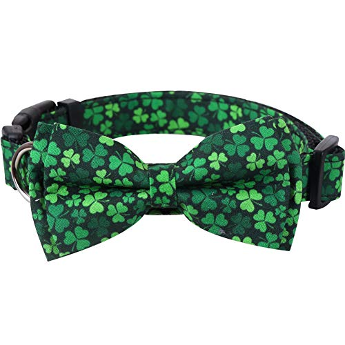 St.Patrick's Day Dog Collar with Removable Cute Bow Tie Adjustable Pet Collars Medium