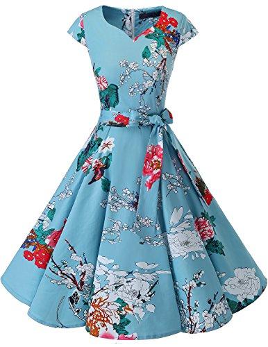 Dresstells Damen Vintage 50er Cap Sleeves Rockabilly Swing Kleider Retro Hepburn Stil Cocktailkleid Floral S
