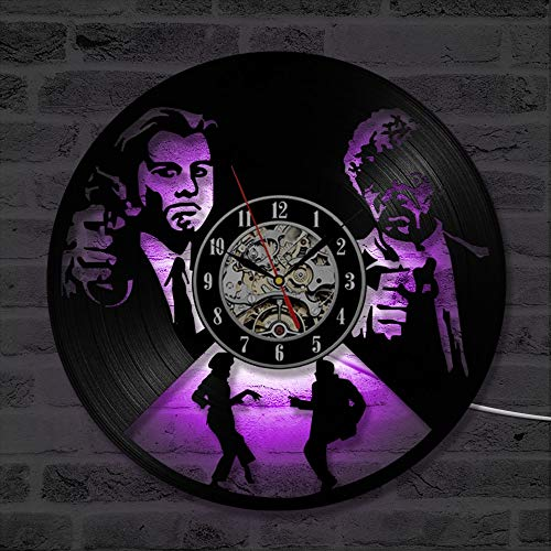 LED Colorful vinyl wall clock Pulp fiction vinyl record wall clock, 3D decorative hanging LED clock wall clock with 7 color variations, 12 inches for home decoration