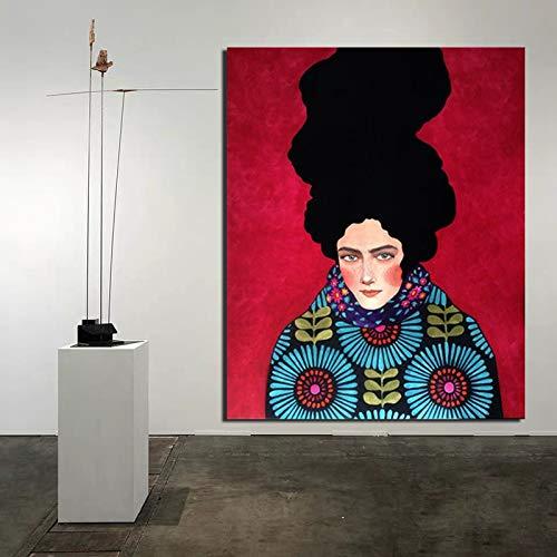 KWzEQ Cartel nórdico Fondo Rojo Papel Pintado impresión Lienzo Pintura Sala de Estar decoración del hogar Moderno Arte de la Pared,Pintura sin Marco,50x60cm