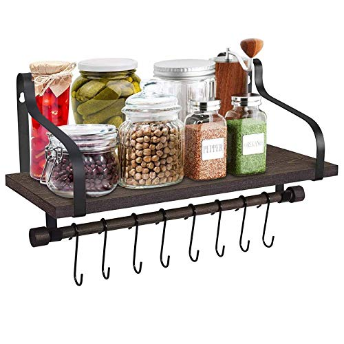 Fttouuy Floating Shelves Wall Mounted, Rustic Wood Wall Storage Shelf with Towel Holder and 8 Removable Hooks for Bathroom, Kitchen and Living Room