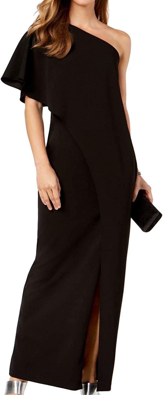 Adrianna Papell Women's Draped One-Shoulder Dress (4, Black)