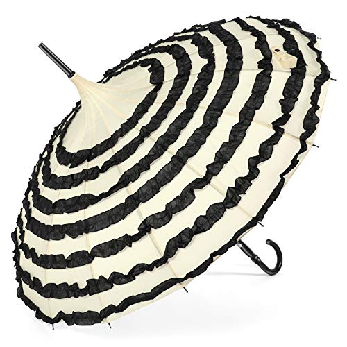 BABEYOND Pagoda Lace Sunproof Umbrella Vintage Wedding Bridal Parasol Umbrella for Photo Lady Costume (Black Apricot, Style-3)