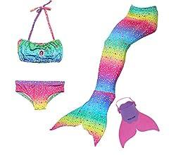 Cola de Sirena para Natación Traje de Baño 4pcs Mermaid Bikini con ...
