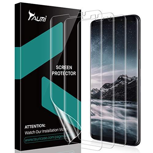 TAURI [3 Pezzi Pellicola Protettiva per Samsung Galaxy S9 Plus, Galaxy S9+ HD Trasparente Morbido TPU Pellicola[Compatibile con la Custodia][Installazione Facile] [Senza Bolle]