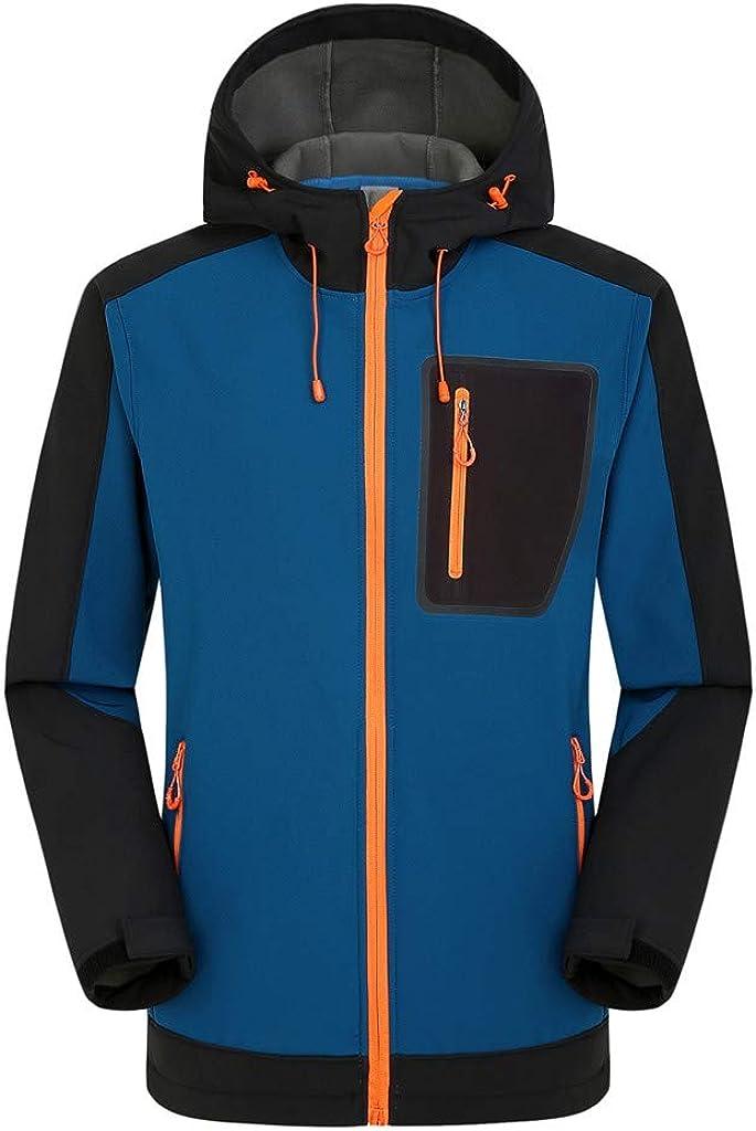 AKIMPE Men's Windbreaker Waterproof Lightweight Jacket Drawstring Hooded Lined Zip up Ski Breathable Trench Coats