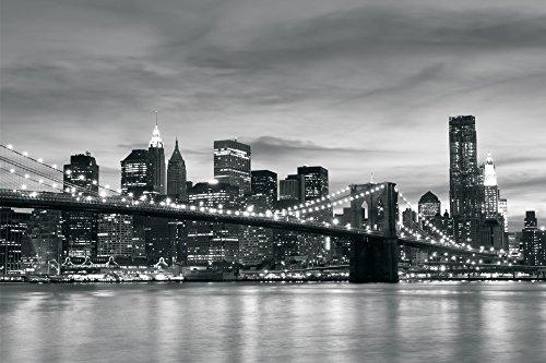 Delester Design Décor mural Papier peint - vue de New York avec le pont de Brooklyn en noir et blanc