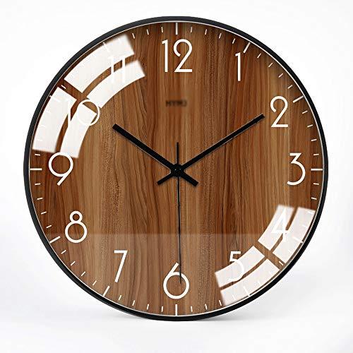 JJSPP Reloj de Pared de Cuarzo Moderno Relojes de decoración de Oficina de Barrido silencioso Digital con Pilas, Cubierta de Vidrio con Marco de Metal Revestido de Cromo