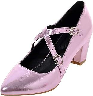 VulusValas Women Trendy Block Heel Pumps