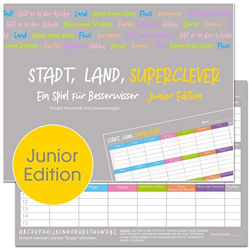 Stadt, Land, Superclever (Junior Edition). Stadt, Land, Fluss Kinder und Jugendliche. Block DIN A4, 50 Seiten (20357)