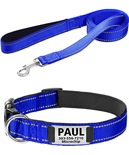 Taglory Leash and Collar Set, Heavy Duty Personalized Dog Collar with 6FT Pet Leash Combo for Small Medium Large Dogs, Soft Padded and Reflective,Navy Blue