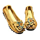Mordenmiss Women's Handmade Flower Flat Shoes Vintage Casual Ballet Slip-ons Loafers (Yellow, Numeric_9)