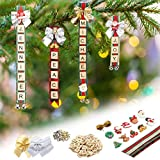 Christmas Ornaments Tree Decorations Personalized Scrabble Crafts for Girls Adults Kids Kit DIY Ribbon Letter Tiles Bells Rustic Stockings Name Tags Hanging Xmas Decor for Gifts Wreath Room Holiday