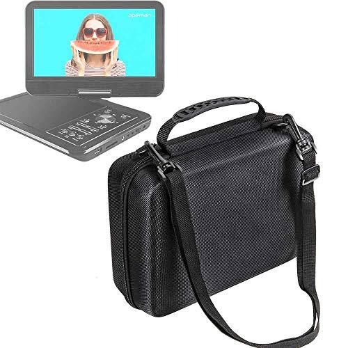 Harde draagtas tas met verstelbare schouderriem voor apeman 10.5'' draagbare mobiele mini auto cd dvd-speler (zwart)