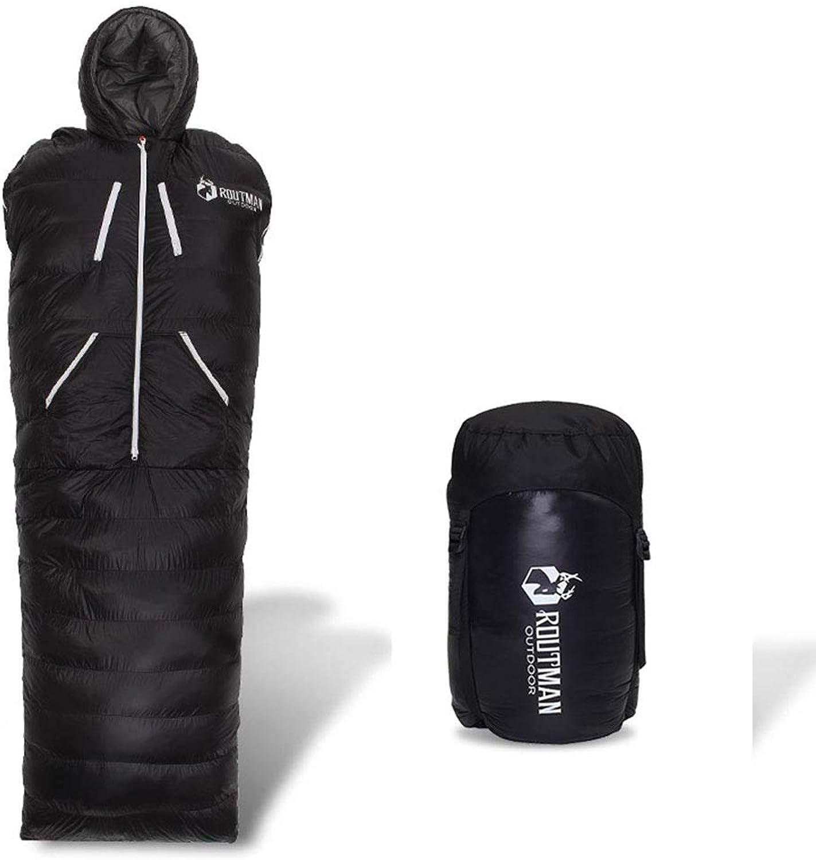 AIRBED Outdoor-Schlafsack, Daunenschlafsack Erwachsene ultraleichte Schlafsack-Innen-Entendaunenschlafsack Humanoider Schlafsack, Leichtes Tragbares