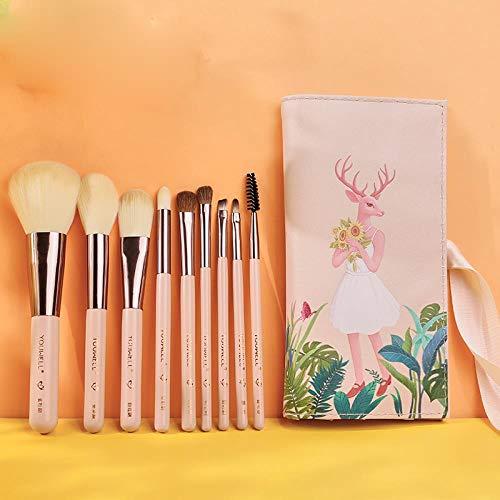 Ensemble De Pinceaux De Maquillage, Pinceau À Paupières, Pinceau À Poudre Libre, Pinceau Haute Lumière, Pinceau De Coupe, Pinceau Blush, Pinceau De Maquillage, 9 Pièces