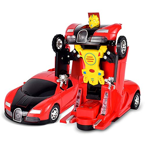 ALYHYB Coches eléctricos para niños, Transformación Robot de Coche, Juguetes de vehículos de deformación automática con Luces y Sonidos de Colores, Regalos Frescos para niños cumpleaños Navidad
