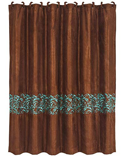 HiEnd Accents Wyatt Copper Taffeta-Style Curtain w/Turquoise Scrollwork [Includes 12 Matching Fabric-Covered Shower Rings], 72' x 72', Brown