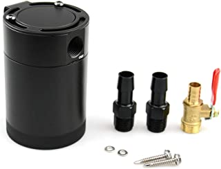 Tasan Racing Universal Aluminum Baffled 2-Port Oil Catch Can/Tank/Air-Oil Separtor Black + Oil Drain Cock Valve