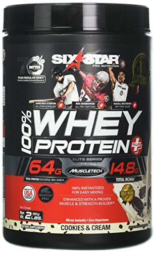 Six Star Pro Nutrition 100% Whey Protein Plus, 64G Ultra-Pure Whey Protein Powder, Cookies and Cream, 2 Pound