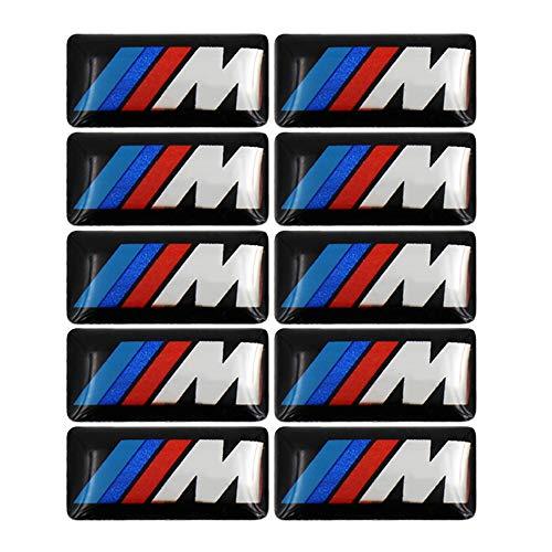 10 Pegatinas de Emblema Deportivo M Tec Premium para Serie BMW M1 M2 M3 M4 M5 M6 y Accesorios con Autoadhesivo 3M