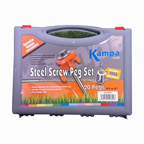 Kampa Steel Screw Peg 20s with 13 mm screw peg drill adaptor