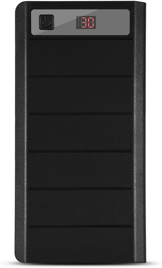 Richer-R Kit de Power Bank,20000mAh Cargador de Batería Externa,Cargador Móvil Portátil con Pantalla LCD para los Dispositivos Digitales de el Voltaje de Salida 5 V(8 x 18650 Baterías)(Negro)