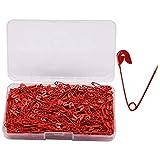 YOFASEN 400 Piezas Imperdibles de Seguridad - Alfileres de Confección Pins de Metal Recubiertos de Color con Cajas de Transparente, Rojo