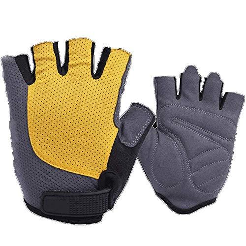 Guantes para montar en primavera y verano con medio dedo para hombres y mujeres, bicicleta de montaña, equipo de equitación con dedos cortos (color: amarillo, tamaño: M) FDWFN (color: amarillo)