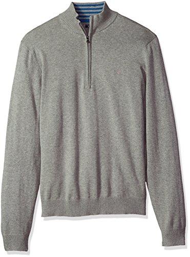 IZOD Men's Fine Gauge Solid 1/4 Zip Sweater, Light Grey Heather, Large