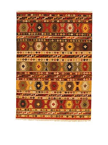 Kilim Carpets by Jalal - Tappeto Kilim Sivas 3 60 x 120cm Rosso/Multicolore