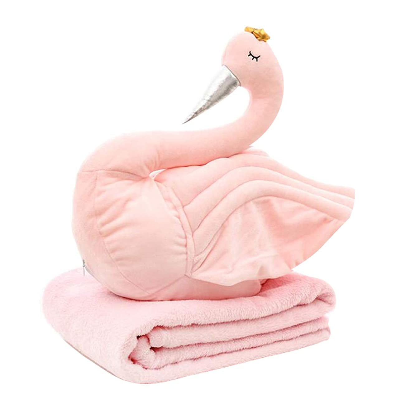 項目マンモスに応じてamleso クッション 携帯枕 ブランケット 毛布 ぬいぐるみ 白鳥の形 旅行 オフィス 50 x 50 cm - ピンク