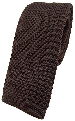 TigerTie qualità maglia cravatta - marrone scuro monocromatico Uni