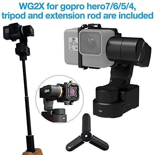 Feiyu WG2x 3 assi Wearable Gimbal per Gopro Hero 7/6/5/4, GoPro Session, Yi 4 K, AEE, SJCAM e simili dimensioni, con borsa per il trasporto, Asta Di Prolunga E Treppiede